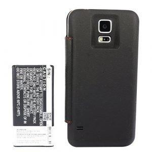 Samsung Galaxy S5 tehoakku 5600 mAh Mustalla Flip Cover suojakotelolla