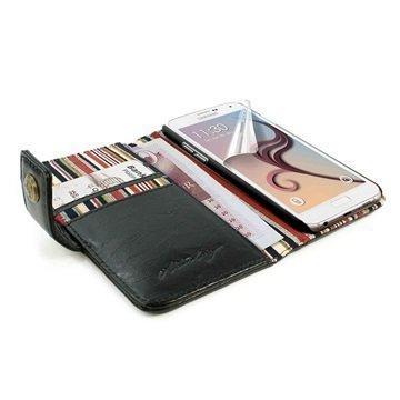 Samsung Galaxy S6 Alston Craig Vintage Rfid Lompakkomallinen Nahkakotelo Musta