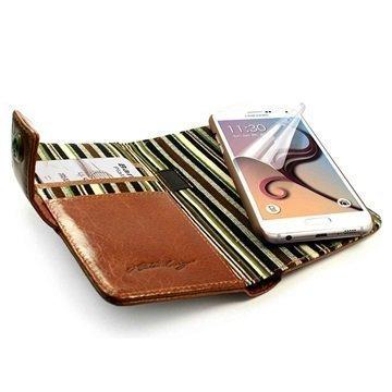Samsung Galaxy S6 Alston Craig Vintage Rfid Lompakkomallinen Nahkakotelo Ruskea