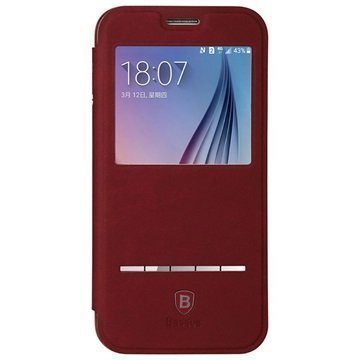 Samsung Galaxy S6 Baseus Terse Series Avattava Kotelo Punainen