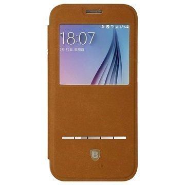 Samsung Galaxy S6 Baseus Terse Series Avattava Kotelo Ruskea