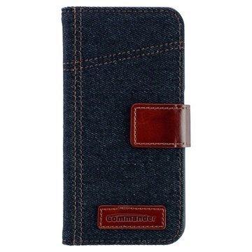 Samsung Galaxy S6 Commander Book Elite Jeans Läppäkotelo Farkkukangas Sininen / Ruskea