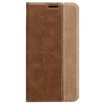 Samsung Galaxy S6 Commander Book Läpällinen Nahkakotelo Ruskea