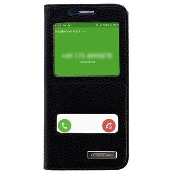 Samsung Galaxy S6 Commander Kaksoisikkuna Läpällinen Nahkakotelo Musta