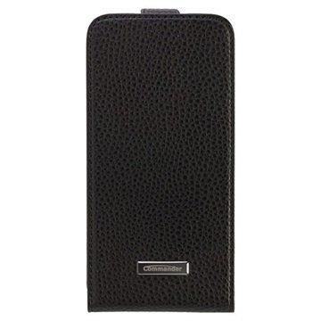 Samsung Galaxy S6 Commander Premium DeLuxe Pystysuora Läpällinen Nahkakotelo- Musta