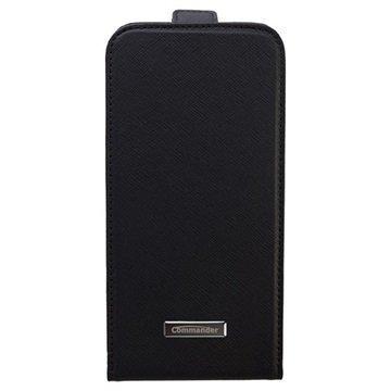 Samsung Galaxy S6 Commander Premium Deluxe Vertical Cross Läpällinen Nahkakotelo Musta
