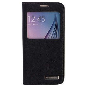 Samsung Galaxy S6 Commander Window Cross Läpällinen Nahkakotelo Musta