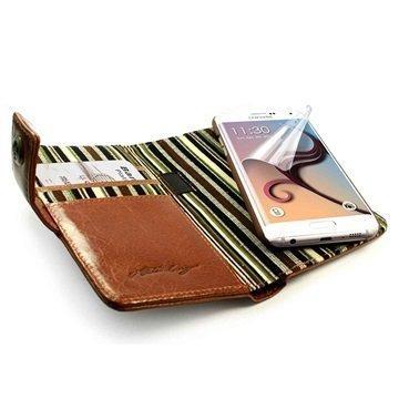 Samsung Galaxy S6 Edge Alston Craig Vintage E-Scape Tec Lompakkomallinen Nahkakotelo Ruskea