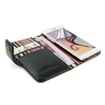 Samsung Galaxy S6 Edge Alston Craig Vintage Rfid Lompakkomallinen Nahkakotelo Musta