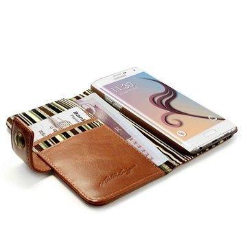 Samsung Galaxy S6 Edge Alston Craig Vintage Rfid Lompakkomallinen Nahkakotelo Ruskea