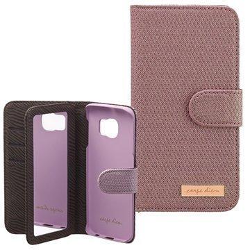 Samsung Galaxy S6 Edge Carpe Diem Mirror Lompakkokotelo Violetti