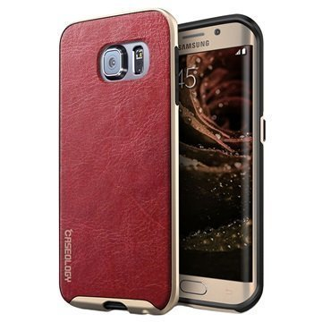 Samsung Galaxy S6 Edge Caseology Envoy Kotelo Burgundinpunainen / Kulta