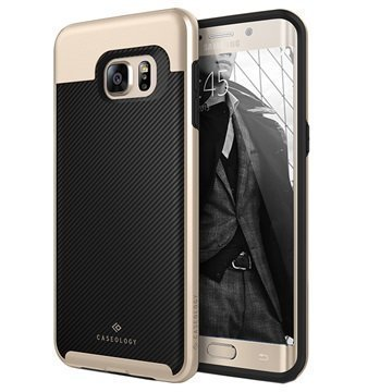 Samsung Galaxy S6 Edge+ Caseology Envoy Kotelo Hiilikuitu Musta / Kulta