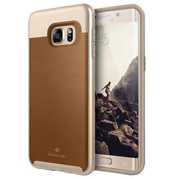 Samsung Galaxy S6 Edge+ Caseology Envoy Kotelo Ruskea / Kulta