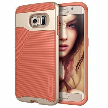 Samsung Galaxy S6 Edge Caseology Wavelength Suojakuori Korallinpunainen / Kulta