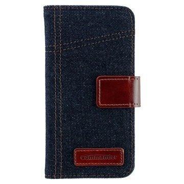 Samsung Galaxy S6 Edge Commander Book Elite Jeans Läppäkotelo Farkkukangas Sininen / Ruskea