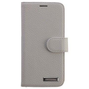 Samsung Galaxy S6 Edge Commander Book Elite Läpällinen Nahkakotelo Valkoinen