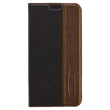 Samsung Galaxy S6 Edge Commander Book Flip Leather Case Black