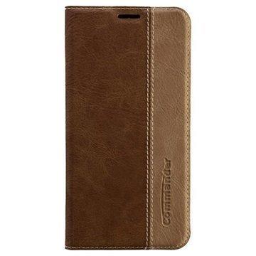 Samsung Galaxy S6 Edge Commander Book Flip Leather Case Brown
