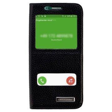 Samsung Galaxy S6 Edge Commander Kaksoisikkuna Läpällinen Nahkakotelo Musta