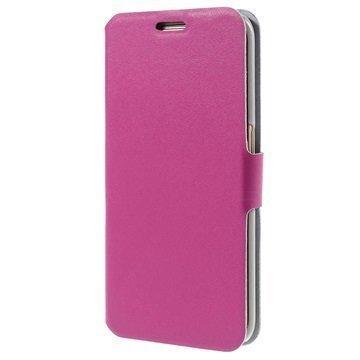 Samsung Galaxy S6 Edge Doormoon Nahkainen Lompakkokotelo Kuuma Pinkki