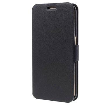 Samsung Galaxy S6 Edge Doormoon Nahkainen Lompakkokotelo Musta