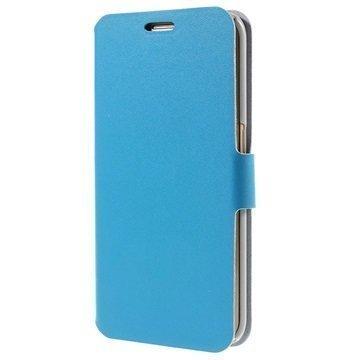 Samsung Galaxy S6 Edge Doormoon Nahkainen Lompakkokotelo Sininen