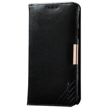 Samsung Galaxy S6 Edge+ Kalaideng Royale II Nahkainen Lompakkokotelo Musta