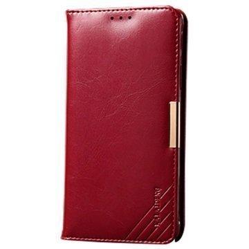 Samsung Galaxy S6 Edge+ Kalaideng Royale II Nahkainen Lompakkokotelo Punainen