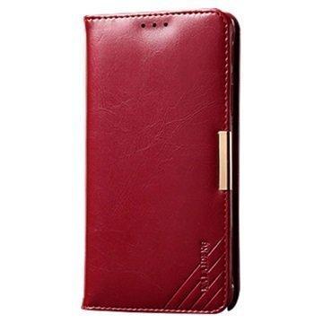 Samsung Galaxy S6 Edge Kalaideng Royale II Nahkainen Lompakkokotelo Punainen