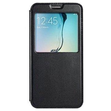 Samsung Galaxy S6 Edge+ Kalaideng Sun Series Ikkunallinen Läppäkotelo Musta