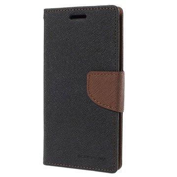 Samsung Galaxy S6 Edge Mercury Goospery Fancy Diary Lompakkokotelo Musta / Ruskea