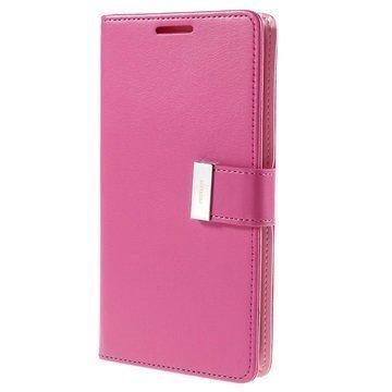 Samsung Galaxy S6 Edge+ Mercury Goospery Rich Diary Lompakkokotelo Kuuma Pinkki
