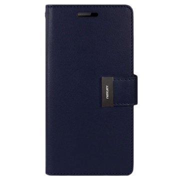 Samsung Galaxy S6 Edge Mercury Goospery Rich Diary Wallet Case Dark Blue