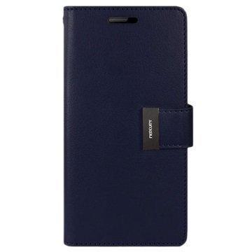 """Samsung Galaxy S6 Edge Mercury Goospery Rich Diary lompakkokotelo â"""" Tummansininen"""