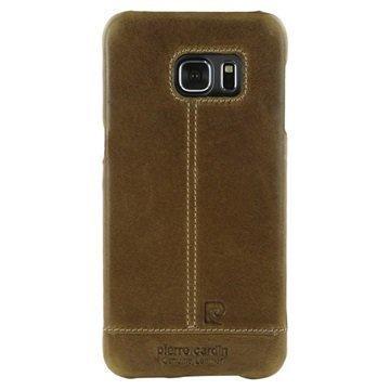Samsung Galaxy S6 Edge Pierre Cardin Nahkapintainen Suojakuori Ruskea