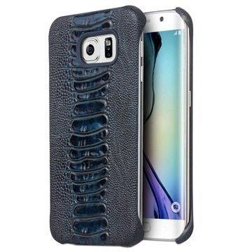 Samsung Galaxy S6 Edge Qialino Leather Coated Hard Case Ostrich Skin Blue