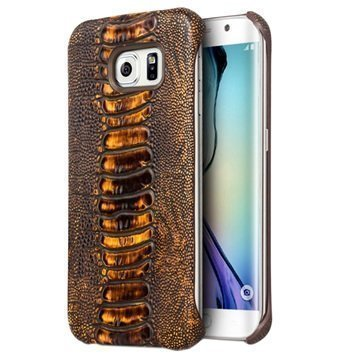 Samsung Galaxy S6 Edge Qialino Leather Coated Hard Case Ostrich Skin Brown