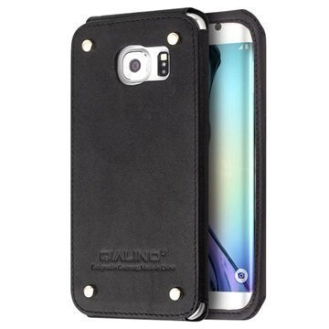 Samsung Galaxy S6 Edge Qialino Luxury Slim Nahkakotelo Musta