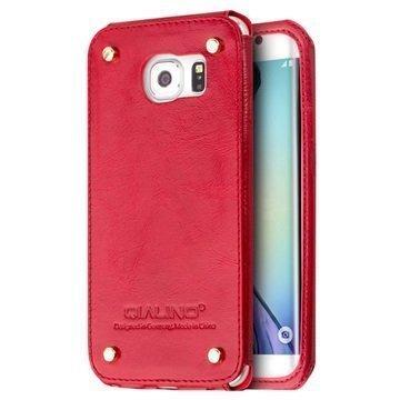 Samsung Galaxy S6 Edge Qialino Luxury Slim Nahkakotelo Punainen