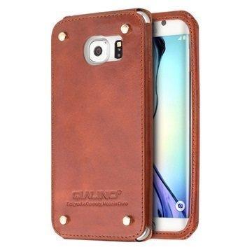 Samsung Galaxy S6 Edge Qialino Luxury Slim Nahkakotelo Ruskea