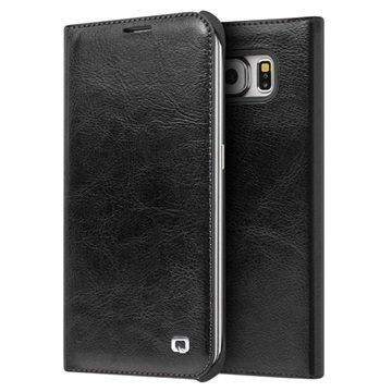 Samsung Galaxy S6 Edge Qialino Nahkainen Lompakkokotelo Musta