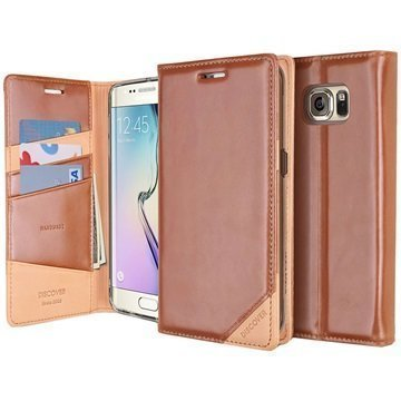 Samsung Galaxy S6 Edge Ringke Discover Wallet Leather Case Brown