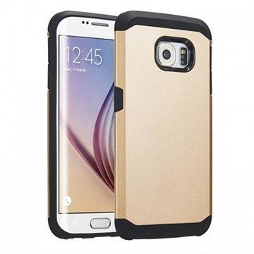 Samsung Galaxy S6 Edge Tuff-luv Slim Armour Kaksikerroksinen TPU-Kotelo Kulta