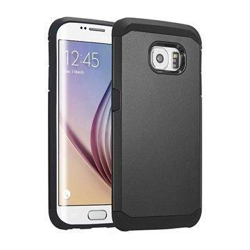 Samsung Galaxy S6 Edge Tuff-luv Slim Armour Kaksikerroksinen TPU-Kotelo Musta