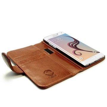 Samsung Galaxy S6 Edge+ Tuff-luv Vintage Lompakkomallinen Nahkakotelo Ruskea