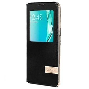 Samsung Galaxy S6 Edge+ Usams Muge Series Ikkunallinen Kotelo Musta