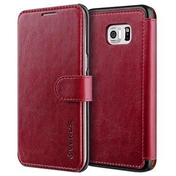 Samsung Galaxy S6 Edge+ VRS Design Layered Dandy Series Lompakkokotelo Viininpunainen / Musta