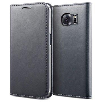 Samsung Galaxy S6 Edge Verus Crayon Slim Series Läppäkotelo Lämmin Harmaa
