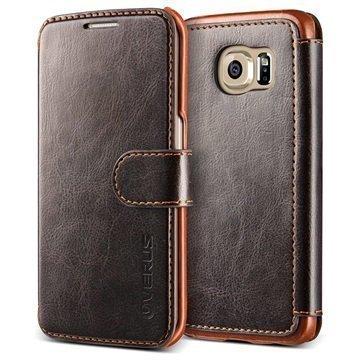 Samsung Galaxy S6 Edge Verus Layered Dandy Series Lompakkokotelo Kahvi / Vaaleanruskea